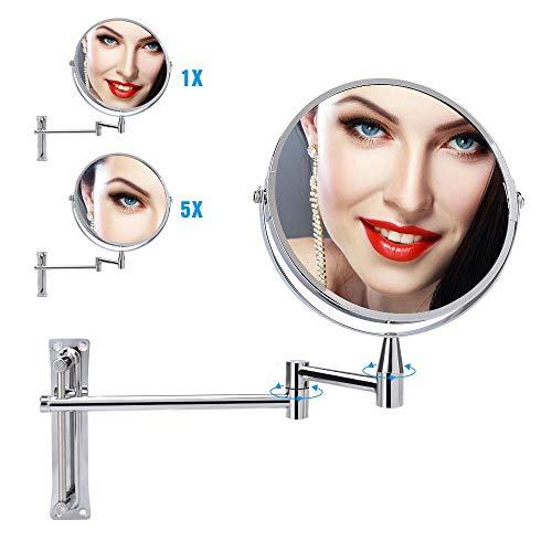 kunhong Kosmetikspiegel, 1 x / 5 x Kosmetikspiegel, Wandvergrößerung, 360-Grad-Drehung, verstellbar, Sided Kosmetik Arm Verlängerung Spiegel