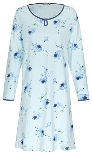 Moonline Nachthemd Damen Schlafhemd aus 100% Baumwolle in Blau Gr. XL 48-50