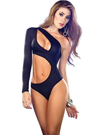 new-mesdames-noir-a-manches-one-decoupe-pole-danse-wear-teddy-monokini-sexy-de-taille-unique-10-12