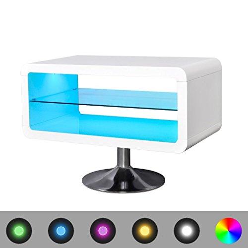 vidaXL Meuble TV LED blanc brillant 80 cm avec Télécommande 16 couleurs 4 modes