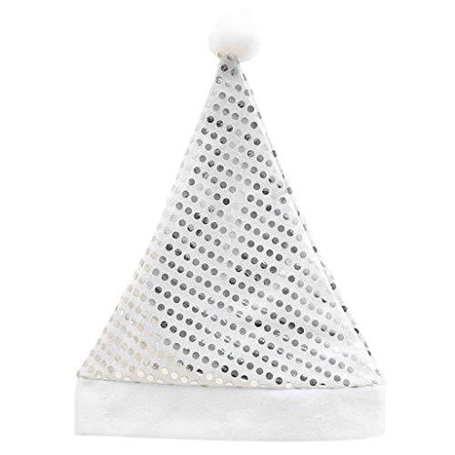 KaiDeng Weihnachtsmütze, Kind Erwachsene Glitter Pailletten Pompon Ball Santa Claus Cap Party Kostüm (Silber(S))