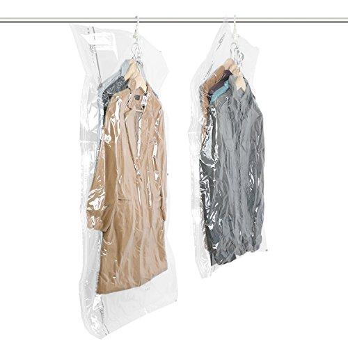 Taili confezione 2 sacchi sottovuoto salvaspazio per indumenti, abito uomo, cappotto, giacca con appendino,135x70cm/105x70cm