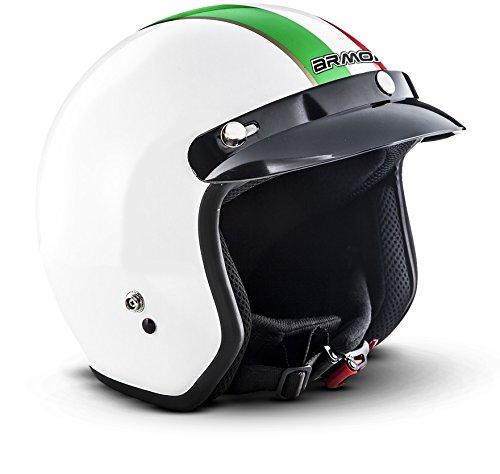 ARMOR HELMETS AV-47 'Italy' · Jet-Helm · Motorrad-Helm Roller-Helm Scooter-Helm Bobber Mofa-Helm Chopper Retro Cruiser Vintage Pilot Biker Helmet Brille · DOT Schnellverschluss Tasche M (57-58cm)