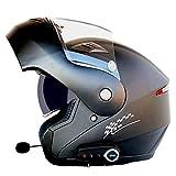 BBJZQ Casco Integrale da Moto con Auricolare Bluetooth Modulare Flip Up Casco Crash Doppia Visiera Corsa Motocross Casco da Motocross Scooter per Uomo/Donna Certificazione DOT