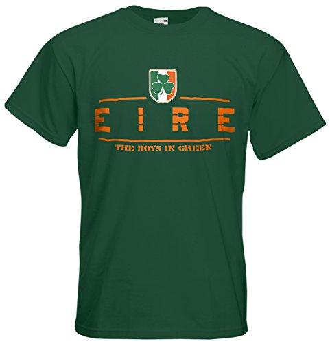 Irland Eire Fanshirt T-Shirt Länder-Shirt im modernen Look Flaschengrün