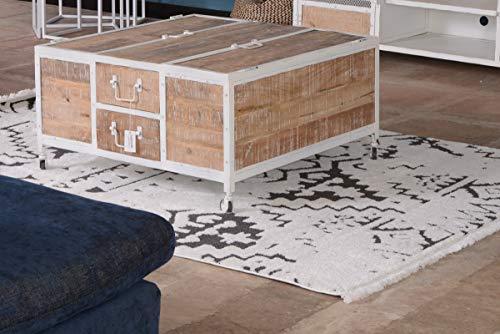 Atelier blanc Table Basse métal et Bois Blanc carré Meuble House
