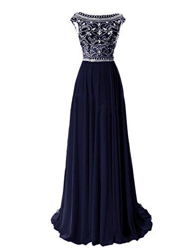 CoutureBridal® Robe Maxi de Soirée en Chiffon sans Dos Perlé Blue Marine