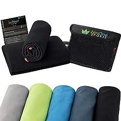 ZenTowel Mikrofaser Handtuch I Leicht & Saugfähig I Premium Fitness Handtuch I Ideal als Sporthandtuch, Reisehandtuch & Badetuch (50 x 110 cm, Schwarz)