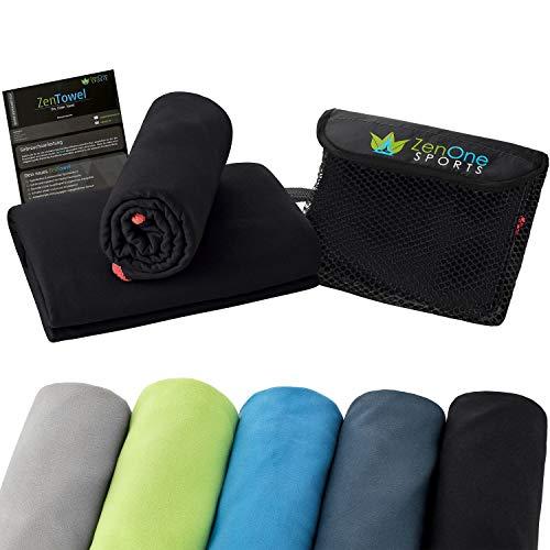 ZenTowel Mikrofaser Handtuch I Leicht & Saugfähig I Premium Fitness Handtuch I Ideal als Sporthandtuch, Reisehandtuch & Strandhandtuch (50 x 110 cm, Schwarz) -