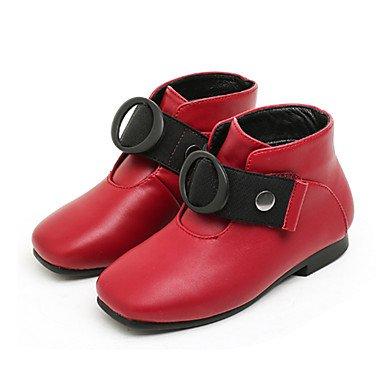 kekafu Mädchen Kinderschuhe Synthetische Microfaser PU Herbst Winter Flaum Futter Mode Stiefel Stiefel Boots Booties/Stiefeletten Schnalle für Hochzeit Kleid Rot, Rot, US1/EU32/UK 13 Kleine Kinder