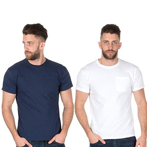 Fruit of the Loom Herren T-Shirt Navy und Weiß