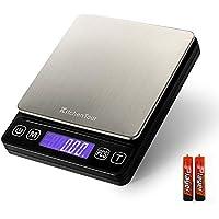 Kitchentour Báscula Digital para Cocina de 500g/0.01g, Balanza Multifuncional de Alta Presición de Alimentos,.