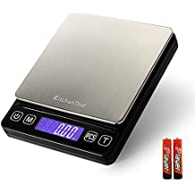 Kitchentour Báscula Digital para Cocina de 500g/0.01g, Balanza Multifuncional de Alta Presición