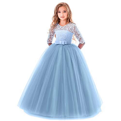 OBEEII Mädchen Kleider Festlich Blumenspitze Kurze Ärmel Elegante Ballkleid Cocktailkleid 5-6 Jahre Blau (Cinderella Mädchen Kleid)