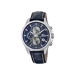 Lotus Watches Reloj Cronógrafo para Hombre de Cuarzo con Correa en Cuero