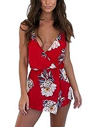8ab944350bfb Donna Tute Eleganti Estive Jumpsuit Corto Fiore Stampato Senza Schienale  Tuta V Profondo Spiaggia Tutine Intere