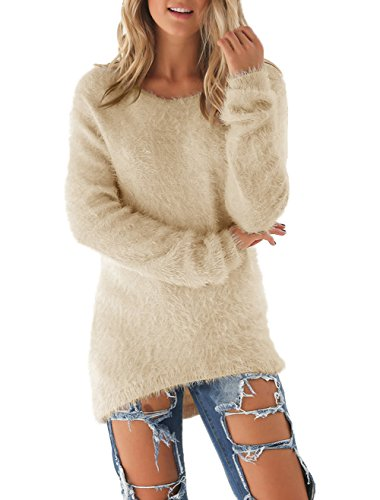 Dhiver Les Femmes Casual Manches Longues Solides Pulls Elégant Warmer Blouse Sweat-shirts Tops Kaki