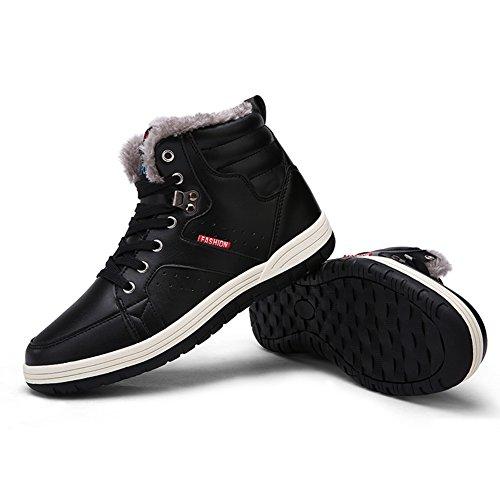 Eagsouni® Herren Winter Boots Stiefeletten Schneestiefel Winterstiefel Stiefel Warm Gefütterte Winterschuhe Stiefelette Schwarz