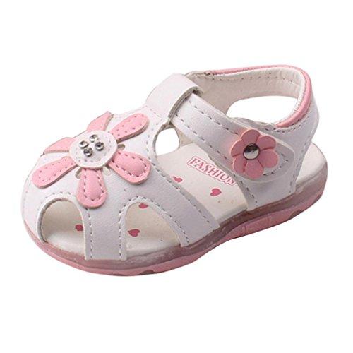 Baby Schuhe Auxma Baby Mädchen Sonnenblume Sandalen beleuchtete Soft-Soled Prinzessin Schuhe (6-12 M, Weiß) (Größe 6 Baby Schuhe Mädchen)