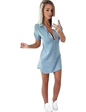 Vestito Donna,Fittingran Abito estivo, Abito manica corta, abito solido, abito denim, abbassare collare mini abito