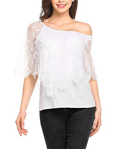 Parabler Damen Schulterfrei T-Shirt Chiffonshirt Tunika mit Geblümte Spitze One-Shoulder Kurzarm Oberteile Sommertop -