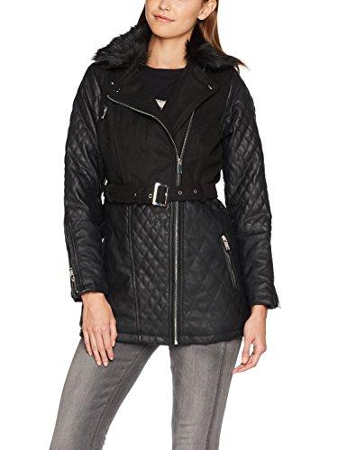 New Look Damen Jacke Mixed Fabric Biker, Schwarz, 38 (Herstellergröße: 10)