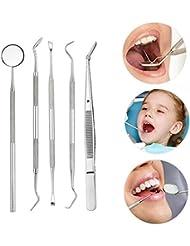 Gaddrt Zahnärztliche 5 stücke Edelstahl Dental Hygiene Kit Zahnschaber Sonde Pinzette Werkzeug