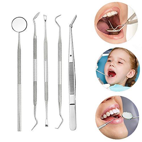 TAOtTAO Edelstahl-Mundspiegel-Aufnahmewerkzeug 5 stücke Edelstahl Dental Hygiene Kit Zahnschaber Sonde Pinzette Werkzeug