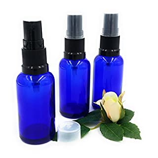Pack of 3 x 30ml Blue Glass York Bottle with BLACK Atomiser/Sprayer Cap. Suitable for Aromatherapy, Art, Crafts, First Aid, Travel Size Spray, Insect Repellent Spray, Facial spritzer etc