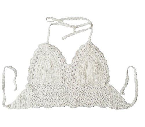 Damen Sommer-Crochet Ernte Aushöhlen Bademode Bikiniober Öffnen Zurück Weiß