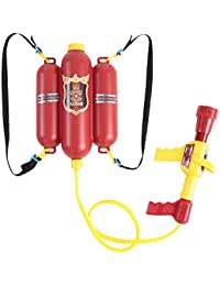 Goolsky Fireman Toys Backpack Water Spraying Toy Blaster Extinguisher with Nozzle and Tank Set Children Outdoor Water Beach Toy for Kids Gifts