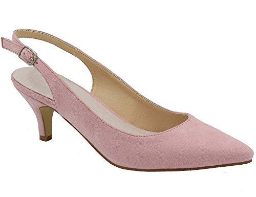 Greatonu Spitz Sandalen Slingback Kitten Absatz Pointed Toe Pink EU40