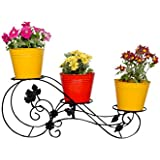 magic matels Iron 3 Tier Pots Stand, 18.5x72x30cm (Black)