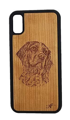 Schutzhülle für iPhone X und XS, mit Lasergravur, Kirschholz, Motiv Bretagne Spaniel -