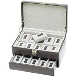 """Davidt's Unisex Watch Box For 15 Watches """"Chrome"""" 378579.34 Grey"""