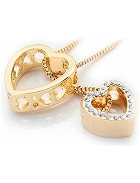 QUADIVA G! Damen Halskette Herzkette Kette mit Anhänger Herz (Farbe: gold) verziert mit funkelnden Kristallen...
