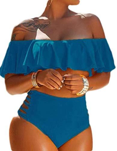 Go First Damen Badeanzug Zweiteiler Off Shoulder Volant Badeanzug Einfarbig Tankini Set Badebekleidung mit hoher Taille Beachwear (Color : Blau, Size : US Medium)
