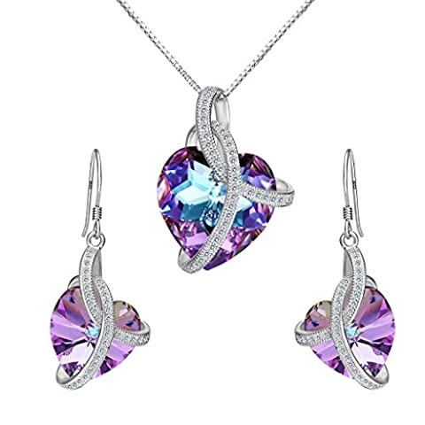 Clearine Women's 925 Sterling Silver Elegant Wedding CZ Infinity Love Heart of Ocean Inspired Pendant Necklace Hook Dangle Earrings Set Adorned with Swarovski Crystals Vitrail Light