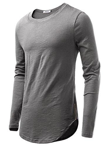 KAIUSI Herren Rundhals Langarmshirt Tee Shaped T-Shirts Dunkelgrau