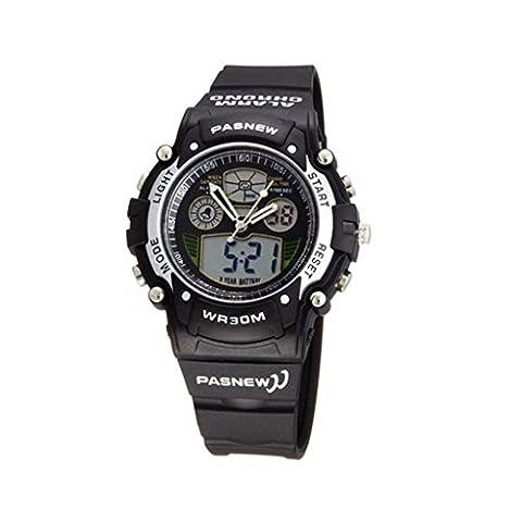 Pasnew Cool Digital-analog Waterproof Dual Time Sport Wrist Watches for Boys Girls (Black)