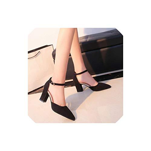 High Heels Flock Spitz Sandalen Sexy Weibliche Schuhe, 886 Schwarz, 37 (Rockport-pumpen-frauen-schuhe)