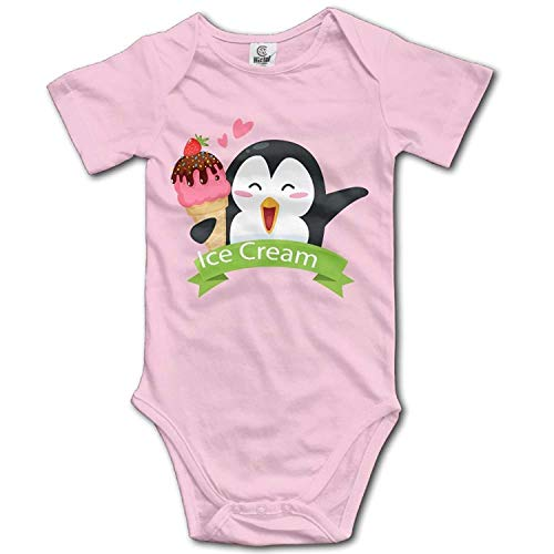 Climbing Clothes Set Penguin Ice Cream Bodysuits Romper Short Sleeved Light Onesies for 0-24 Months ()