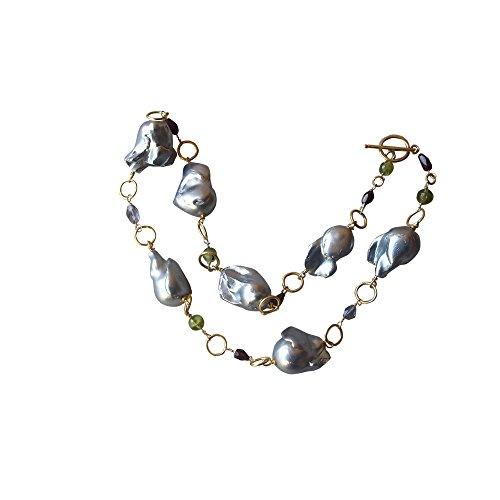 Collana di perle, colore: grigio scuro - Coltivate Collana Di Perle Keshi