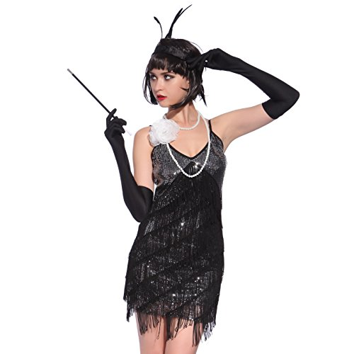COSPLAY COSTUME DONNA 1920s 1930s CHICAGO STILE CHARLESTON MINIVESTITO CON SPALLINE DECORI FRANGIA PAILLETTE - Nero, Taglia M
