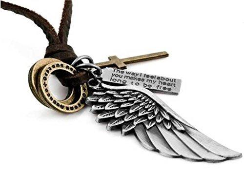 Beyond Dreams Engel Halskette für Damen Herren | Halsketten mit Kreuz Anhänger als Geschenke für Frauen Mädchen | Kreuzkette Schmuck mit Gravur | Lederkette mit Engelanhänger -