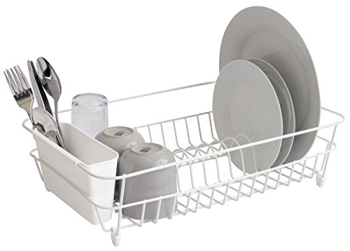 Bloomsbury Mill -  White Wire Dish Drainer - Plate Drying Rack with Cutlery Holder Basket - Anti-Rust