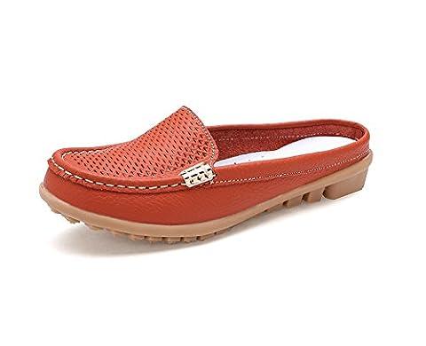 Verocara Women's Leather Cowhide Slippers Beach Sandals Orange 5