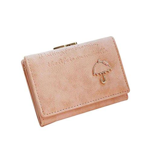 Portafoglio Donna, DDLBiz® Donne Ombrello Portafoglio in pelle pulsante della frizione della borsa (rosa caldo) rosa