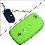 Tuqiang®Silikon Schlüssel Schlüsselcover Autoschlüssel Klappschlüssel Sets Schlüsselhülle 3 Tasten for VW 1PC Grün
