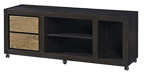 Massiv Holz Moderne Büro Executive Seite Schreibtisch mit Rad, Elm, schwarz